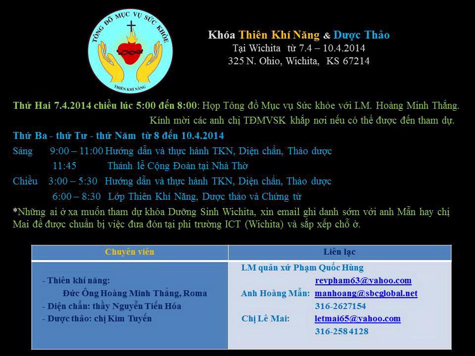 Giới thiệu 2 khóa Dưỡng Sinh Miễn Phí ở Hoa Kỳ : Houston từ 3 > 6/4 và Wichita từ 7 > 10.4.2014