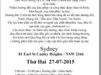 Giới thiệu khóa Dưỡng Sinh ngày 7.9.2015 tại Sydney, Úc châu